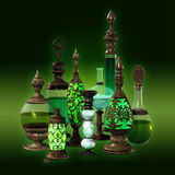 9 bottles in green colors. 9 bottles with metal ornaments in green colors stock illustration