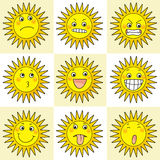 9 cartoon action icon of sun. Cartoon action icon of 9 face expression of sun Royalty Free Illustration