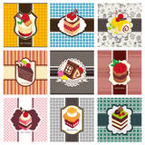 9 cartoon cake card set. Drawing vector illustration