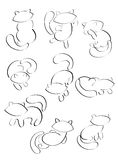 9 cats. Nine silhouettes of cats, an abstraction. Different moods, attitudes Royalty Free Stock Image