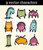 9  characters. Nine colorful  characters - monsters Royalty Free Stock Images