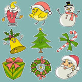 9 Christmas icons. 9 useful happy and funny christmas icons Stock Images