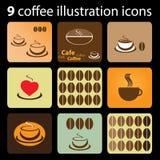 9 Coffee Illustration Icons. Nine Brownish Coffee Illustration Icons vector illustration