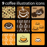 9 Coffee Illustration Icons Stock Images
