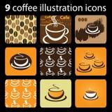 9 Coffee Illustration Icons. Nine Brownish Coffee Illustration Icons stock illustration