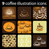 9 Coffee Illustration Icons Royalty Free Stock Photography