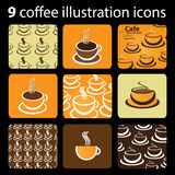 9 Coffee Illustration Icons Stock Photography