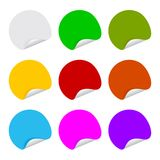 9 color adhesive label blank round. Colorful blank stickers,editable Royalty Free Stock Photo