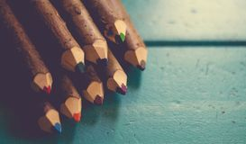 9 Colored Pencils Stock Photography