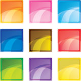 9 colored square buttons Stock Images