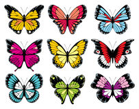 9 colorful butterfly icons. Set vector illustration
