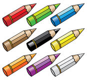 9 colour pencils. 9 different colour pencils isolated on white stock illustration