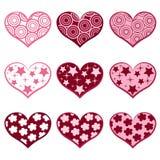 9 corazones. Fije los simbols del `s de la tarjeta del día de San Valentín. Fotos de archivo libres de regalías