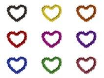 9 cuori con differenti colori illustrazione vettoriale