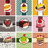 9 cute cartoon cake card set. Drawing royalty free illustration