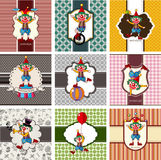 9 cute cartoon clown card Stock Photo