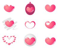9 cute pink hearts vector set Royalty Free Stock Images