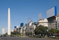 9 de Julio Avenue and The Obelisk a major touristi Royalty Free Stock Photos