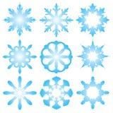 9 decoratieve sneeuwvlokken Stock Afbeelding