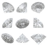 9 Diamanten stellten auf weißen Hintergrund - Ausschnittspfad ein Stockbild
