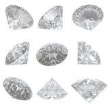 9 diamanter ställde in på vit bakgrund - clippingbana Fotografering för Bildbyråer