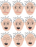 9 different mimics. 9 faces with different mimics. This file is also available as EPS-File Royalty Free Stock Photography