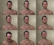 9 emociones del hombre fijadas Fotos de archivo libres de regalías