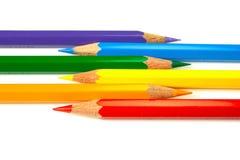 9 färgblyertspennor Royaltyfri Bild