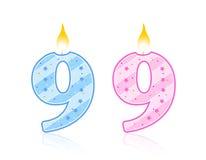 9 födelsedag stearinljus stock illustrationer