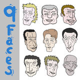 9 faces Stock Photography