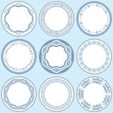 9 feminine blue labels set. Illustration Stock Photo