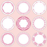 9 feminine labels set. Illustration Stock Images