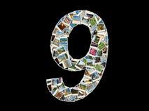 9 figura collage de las fotos del recorrido Foto de archivo libre de regalías