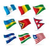 9 flaggor ställde in världen Royaltyfria Bilder