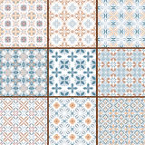 9 floral seamless patterns Royalty Free Stock Photography