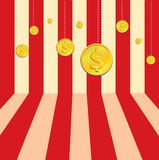 9 Gold Dollar Coins. 9 winner gold dollar coins on red and white stripe background Royalty Free Illustration