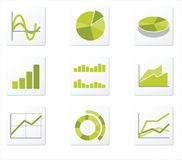 9 graph icon. Set of 9 graph icon variations Royalty Free Stock Photography