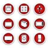 9 guzików ikony czerwień Zdjęcia Stock