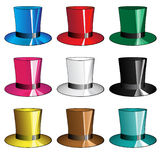 9 hats. Set form 9 colored hats Royalty Free Stock Image