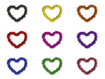 9 hearts with different colors. Set of 9 fur hearts with different colors Vector Illustration