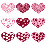 9 hearts. Set valentine`s simbols. Royalty Free Stock Photos