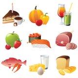 9 hoogst gedetailleerde voedselpictogrammen Stock Fotografie