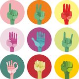 9 icons with different gestures in vector Stock Photo