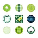 9 icons: eco, bio, nature, green, misc Stock Images