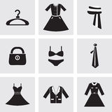 9 icons set of Fashion elements. Abstract and simple white and black Stock Illustration