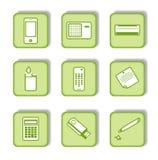 9 ikona zielony majcher Zdjęcia Stock