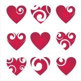 9 inställda hjärtasymboler royaltyfri illustrationer