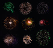 9 isolated fireworks collection Stock Photo