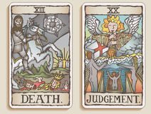 9 kart tarot dwa v Fotografia Stock