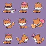 9 Kawaii Foxes Icons Set Stock Photo